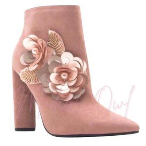 💥💥SUEDE EMBROIDERED ANKLE  BOOTIES